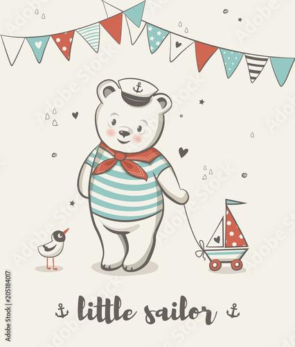 Mały żeglarz, słodki Miś ilustracji wektorowych, plakaty do pokoju dziecka, kartki z okazji urodzin baby shower, koszulki i ubrania dla dzieci i niemowląt, ilustracja przedszkola