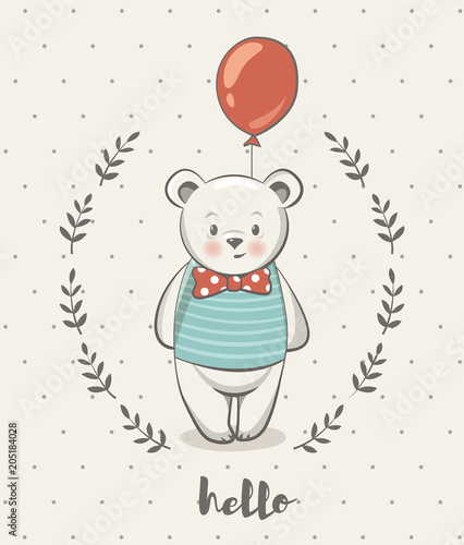 Cute little bear cartoon vector illustration, posters for baby room, greeting cards, kids and baby t-shirts and wear, hand drawn nursery illustration