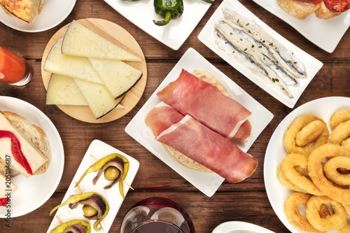 Spanish food. Overhead photo of different tapas