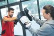 Man training to box