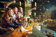 canvas print picture - sport, people, leisure, friendship and entertainment concept - happy football fans or male friends drinking beer and celebrating victory at bar or pub