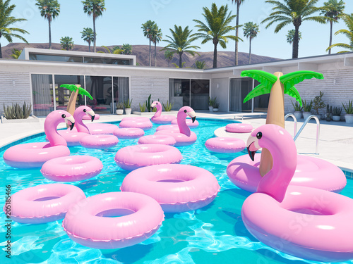 Papel de parede  3D rendering. a lot of different floats in a pool