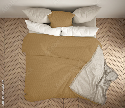 double bed top view. Brilliant Top Scandinavian Classic Bedroom Top View Closeup On Double White And Yellow  Bed Parquet With Double Bed Top View