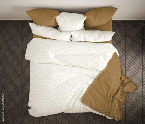 Bed top view Master Bed Scandinavian Classic Bedroom Top View Closeup On Double White And Yellow Bed Parquet Floor Contemporary Modern Interior Design Adobe Stock Scandinavian Classic Bedroom Top View Closeup On Double White And