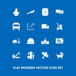 Modern, simple vector icon set on blue background with plane, game, discount, kid, price, bike, bus, fork, stroller, gym, speech, sign, fitness, coupon, baby, kitchen, accident, tow, cutlery icons