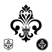 Black Royal Lily On A White Background. Heraldic Sign, Logo