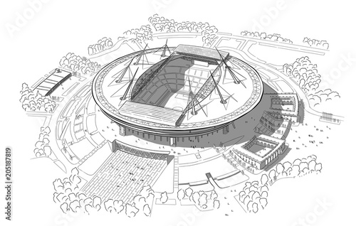 Photo Sketch of the new stadium on Krestovsky island.