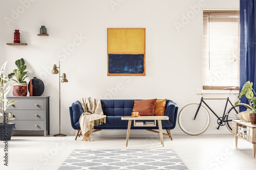 Poster Vissen Yellow and blue painting hanging on white wall in bright living room interior with grey cupboard, gold lamp, sofa with blanket and pillows and bike standing under window with blinds