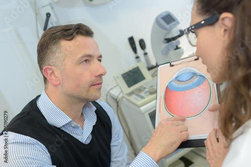 Fényképezés  explaining the eye problem to the patient