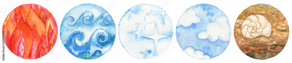 Fototapety, obrazy: Five natural elements: fire, water, ether, air and earth. Watercolor illustration set.