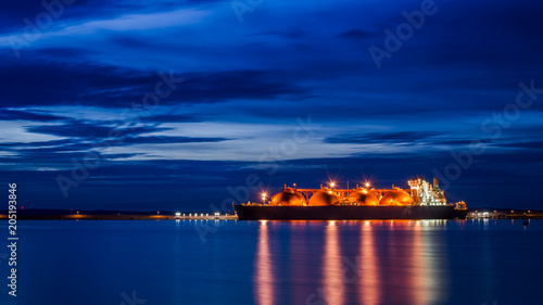 GAS CARRIER - Ship in the port at sunrise