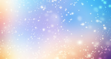 Glittering Gradient Background  With Hologram Effect And Magic Lights. Holographic  Abstract Fantasy  Backdrop  With Fairy Sparkles, Gold Stars And Festive  Blurs. .