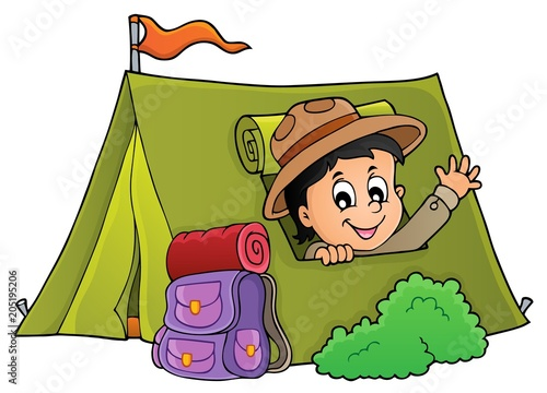 Staande foto Voor kinderen Scout in tent theme image 1