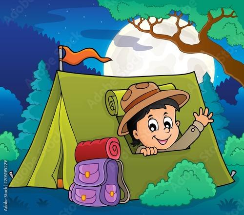 Staande foto Voor kinderen Scout in tent theme image 2