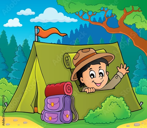 Staande foto Voor kinderen Scout in tent theme image 3