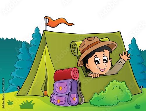Foto op Canvas Voor kinderen Scout in tent theme image 4