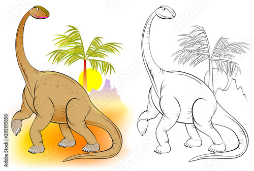 Colorful and black and white pattern for coloring. Illustration of cute dinosaur. Worksheet for children and adults. Vector image.