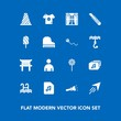 Modern, simple vector icon set on blue background with food, paper, sign, interior, road, fly, home, torii, traffic, lamp, ice, sweet, curtain, music, file, male, pool, fruit, clothes, lollipop icons