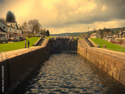 Aluminium Prints Channel Fort Augustus, highlands Scotland - showing one of the locks on the Caledonian Canal. This canal joins onto Loch Ness.