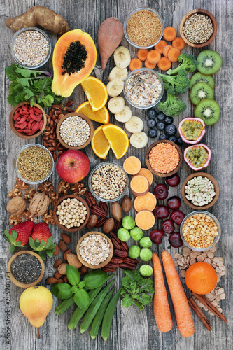 Aluminium Prints Healthy high fibre super food with fruit, vegetables, pulses, nuts, seeds, cereals and grain with foods high in antioxidants, anthocyanins, omega 3 fatty acids and vitamins. Top view.