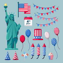 USA Holiday Icons And Design Elements For 4 Of July Independence Day Celebration. Vector Illustration