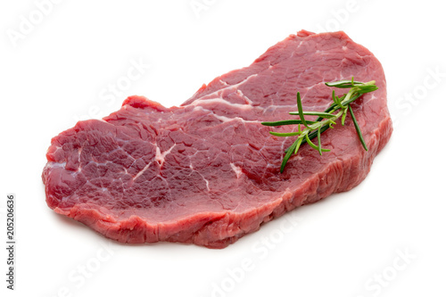 Spoed Foto op Canvas Steakhouse Fresh raw beef steak isolated on white.