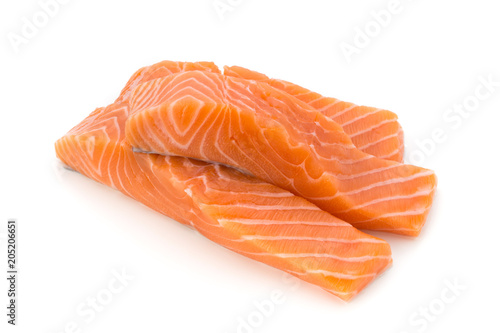 Fotobehang Vis Fresh salmon fillet with basil on the white background.