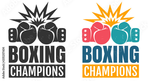 Photo intage logo for boxing with glove