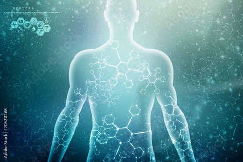 Photo  2d illustration Abstract model of human body of DNA molecule