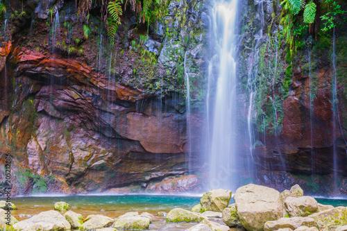 Foto auf AluDibond Aubergine lila Levada das 25 fontes and levada do risco, Madeira Island, Portugal