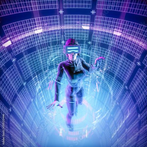 Photo  Virtual reality datasphere female user / 3D illustration of female figure in vir