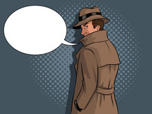 Spy In Raincoat And Hat Pop Ar...