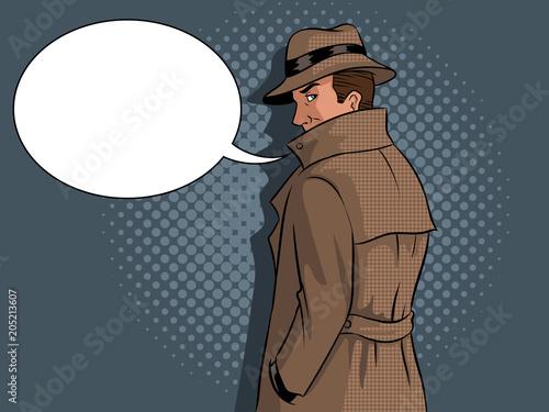 Fotografía Spy in raincoat and hat pop art vector