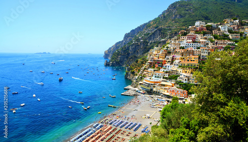 Foto op Aluminium Europese Plekken View on Positano on Amalfi coast, Campania region, Italy.