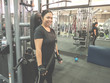 Training arm use black rope in the gym