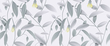 Seamless Pattern, Hand Drawn Pastel Green Leaves And Yellow Flowers On Light Green Background