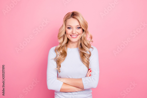 Fotografie, Obraz  Portrait of lovely charming attractive girl with modern hairstyle looking at cam
