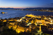 Greece, Peloponnese, Argolis, Nauplia, Argolic Gulf, Old town, View from Akronauplia to Bourtzi Castle in the evening