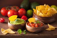 Mexican Guacamole And Salsa Di...