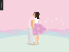 Kissing Scene - Flat Cartoon Vector Illustration Of Young Couple, Boyfriend And Girlfriend, Kissing, Romantic Scene With Pink Hills, Leafs And Mounains On The Background, Sunrise, Sunset - Composition