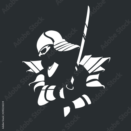 Fotografie, Tablou  Silhouette of a samurai in armor with a katana on a black background