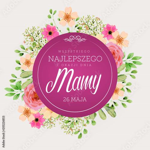 Dzień Matki 26 Maja - kartka z kwiatami oraz napisem