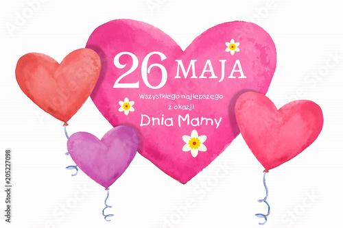 Fototapeta Dzień Matki 26 Maja - kartka z życzeniami oraz balonikami w kształcie serca obraz