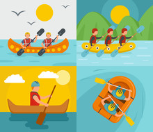 Rafting Kayak Water Canoe River Banner Concept Set. Flat Illustration Of 4 Rafting Kayak Water Canoe River Vector Banner Concepts For Web