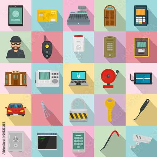 Burglar robber mugger plunderer icons set Wallpaper Mural
