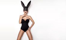 Sexy Woman In A Black Bunny Ma...