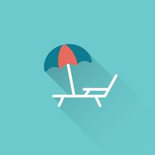 Flat Deckchair With Umbrella I...