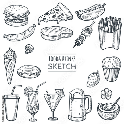 Fotografiet  Food and drinks vector hand drawn sketch set