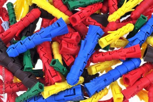 Chevilles en plastique de différentes couleurs Canvas Print