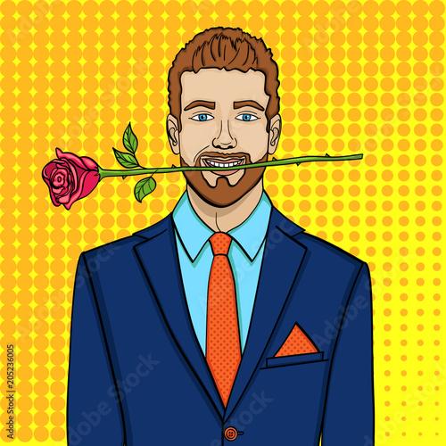 Fotobehang Pop Art Pop art man, businessman with a rose in his teeth. Imitation comic style, vector